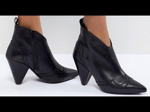 kurt geiger black leather western heeled ankle boots