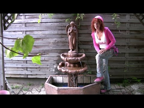 Yard Fountain Construction 3 –  Tiling and concrete fountain  repair and assembly