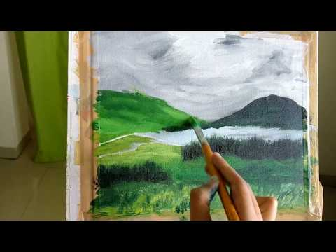 Impressionistic Landscape Acrylic Painting Time Lapse
