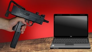 Maschinen Pistole Co2 Softair vs Laptop - Experiment und Review Mac 11