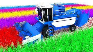 Colors for Children to Learn With Farm Vehicles Combine and Loading hay bales for Kids