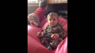 Patting Declan's head on the Bean Bag chair Thumbnail