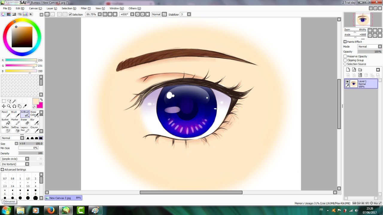 【tutorial】 how to color anime eyes 2 paint tool sai