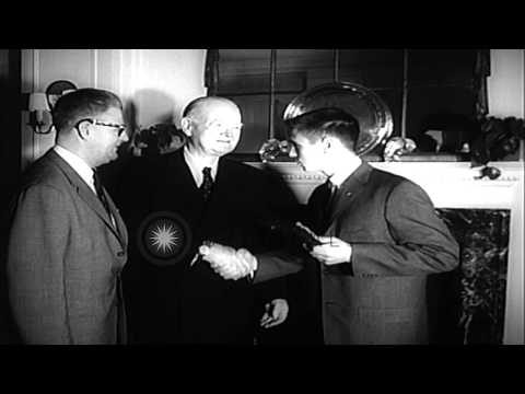 Former US President Herbert Clark Hoover presents the award of the 'Boy of the Ye...HD Stock Footage