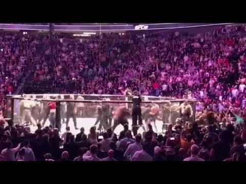 Хабиб выпрыгнул из октагона.Нападение на Конора UFC 229