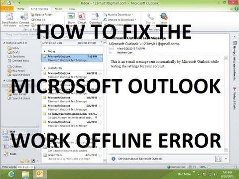 How To Fix The Work Offline Error In Microsoft Outlook 2010