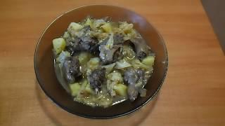 дикая утка тушёная с картофелем и капустой в мультиварке
