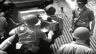 The five-inch-twenty-five Caliber deck gun on surfaced submarine at sea, United S...HD Stock Footage