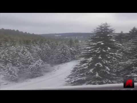 Most beautiful winter landscape in train travel in Romania