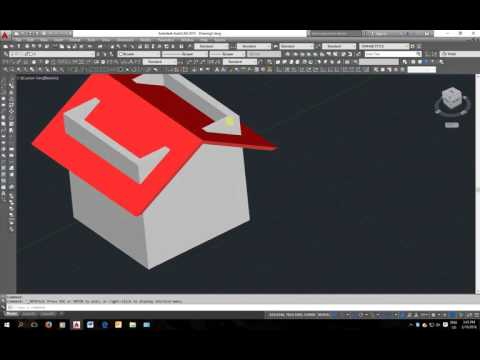 how to make simple 3d roof in auto cad tutorial