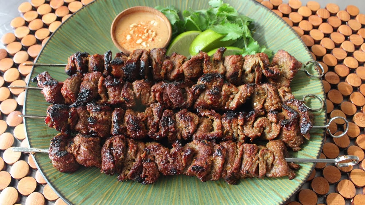 Beef Satay Recipe - Thai-Style Grilled Beef Skewers - YouTube