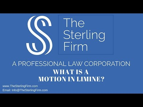 WHAT IS A MOTION IN LIMINE YouTube
