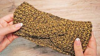Повязка с перехлестом спицами | Headband with a twist knitting tutorial