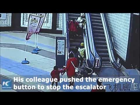 mother,-baby-in-pram-fall-down-escalator
