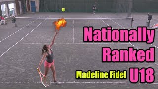 NTRP 5.0 (UTR-10) Male hitting with Top 300 Female Recruit U18 - Madeline Fidel