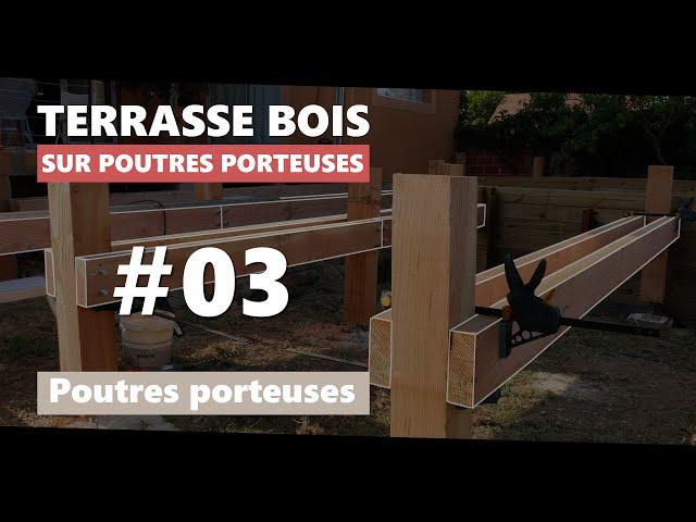 03.  Poutres porteuses de la terrasse en bois sur poutres-porteuses et pilotis autour d'une piscine