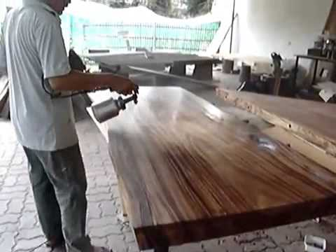 Solid Acacia Wood Round Slab Dining Table Top Reclaimed Wood Custom Made  Natural Lacquer Finishing   YouTube