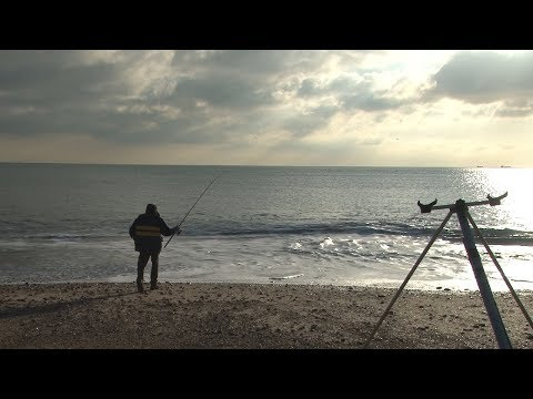 Beach Fishing in Winter with a Swedish Firetorch To Keep Warm!