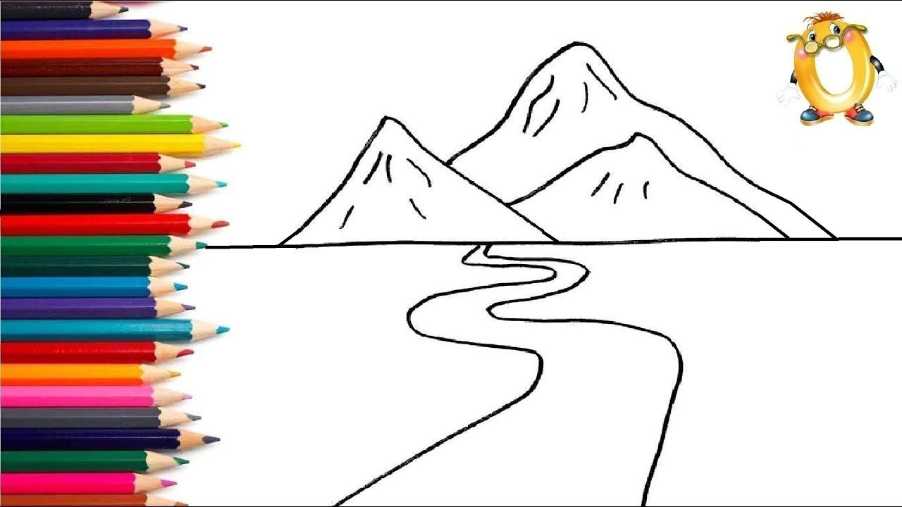 Раскраска для детей ГОРЫ И РЕЧКА. Мультик - Раскраска ...