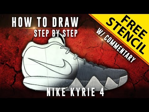 info for 6f074 eee50 How To Draw - Step by Step  Nike Kyrie 4 w  Downloadable Stencil - YouTube