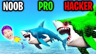 Can We Go NOOB vs. PRO vs. HACKER In HUNGRY SHARK WORLD!? (UNLOCKING ALL SHARKS!?)