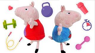 Свинка Пеппа иДжордж ХУДЕЮТ! Видео для детей, как мягкие игрушки играют надетской площадке
