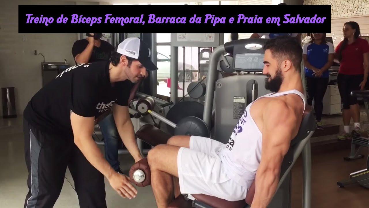 Treino Bíceps Femoral, Barraca da Pipa e Praia em Salvador