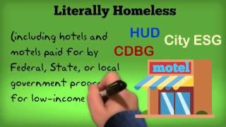 HUD HMIS Definition: Housing Status 1: Literally Homeless