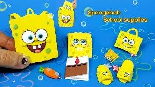 [Diy miniature spongebob school supplies] 스폰지밥 가방안에 학용품을 쏙쏙! 미니어쳐 보글보글 스폰지밥 학용품 만들기 !