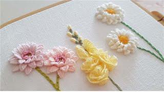 [프랑스자수] 파스텔 꽃 입체자수 Pastel Flowers Embroidery