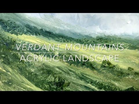 Verdant Mountains | Complete Painting Lesson | Acrylic Landscape