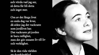 """Önskan"" - Karin Boye | Old Swedish Poem with English translation"
