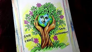 Download How To Draw Go Green Save Trees Save Earth Poster Drawing