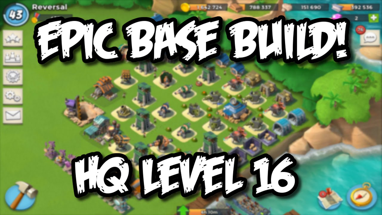 boom beach - headquarter 16 base build layout | defense base build