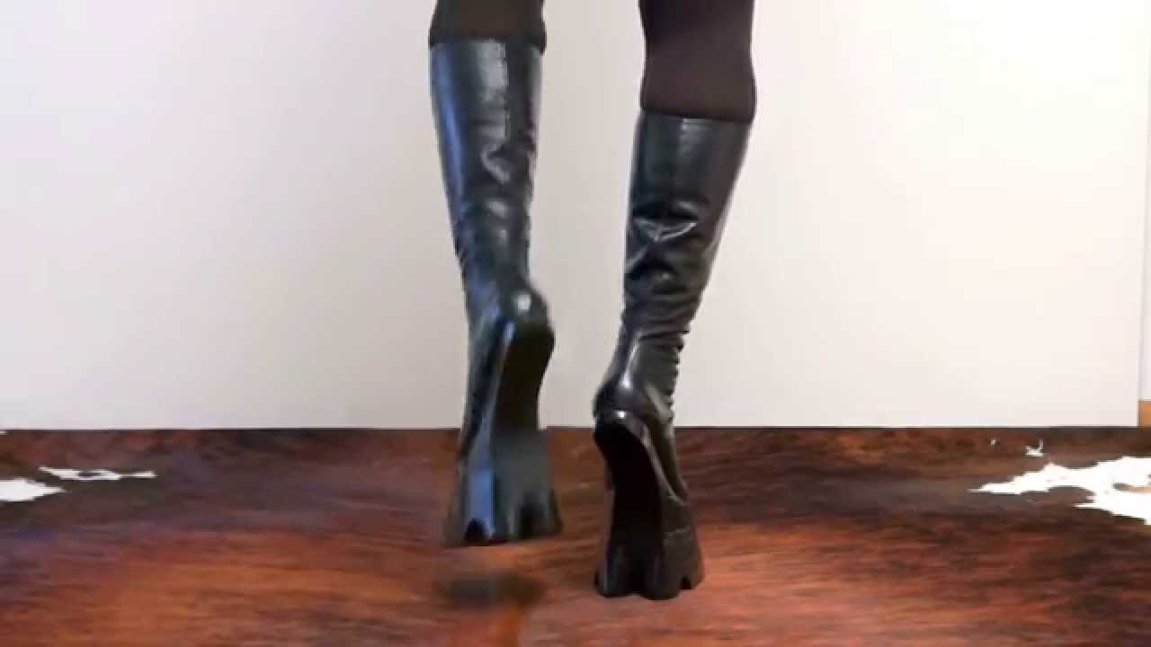 cloven hoof boots knee high youtube