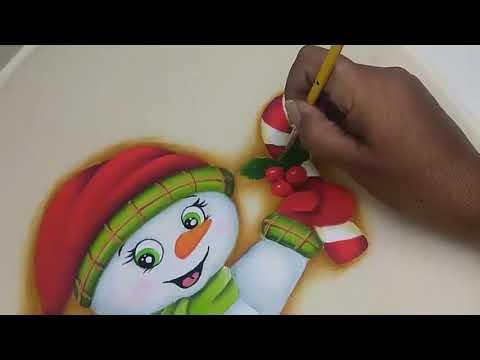 Imagenes De Motivos Navidenos Para Pintar En Tela.Pintura En Tela Navidad Muneco De Nieve How To Paint A Snowman 2