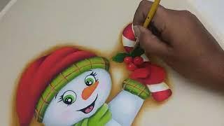 pintura en tela navidad muñeco de nieve, how to paint a snowman 2