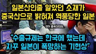 """일본산인줄 알았던 소재가 중국산으로 밝혀져 역풍당한 일본, """"수출규제는 한국에 했는데 자꾸 일본이 폭망하는 기현상"""""""
