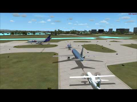 FSX Heavy traffic at Luis Munoz Marin International airport, San Juan Puerto Rico.