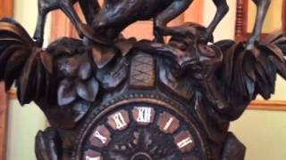Heavily Carved Antique Black Forest Shelf Cuckoo Clock