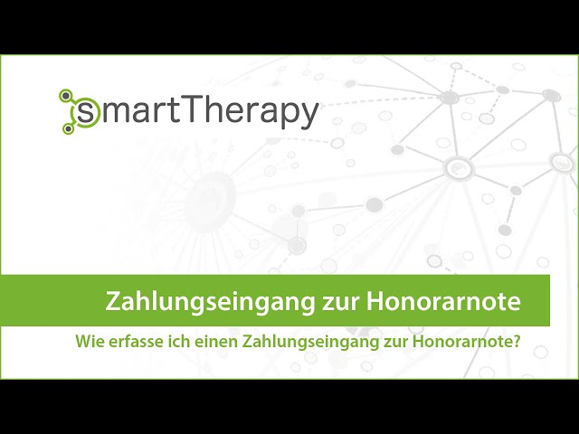 smartTherapy: Honorarnote Zahlungseingang