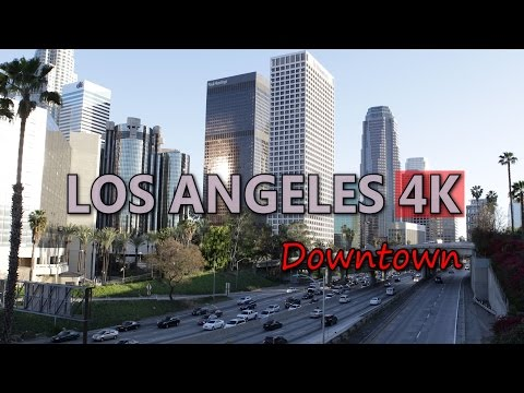 Ultra HD 4K Los Angeles Travel US Tourism LA Downtown US Highway Car Traffic UHD Video Stock Footage