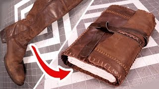 Upcycling Leather Boots into a Traveler's Journal!