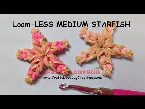 Rainbow Loom-LESS MEDIUM STARFISH EASY Charm Tutorials By Crafty Ladybug/How To Make LOOM BANDS