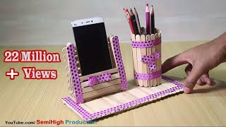 Homemade Pen stand and Mobile phone holder with ice cream sticks thumbnail