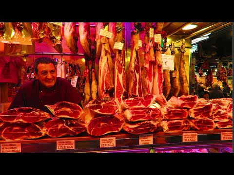 TOUR OF BARCELONA MARKET - Mercat de la Boqueria, Fruit & Meat Section