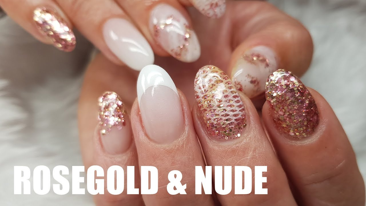 ACRYLIC NAIL DESIGN | ROSE GOLD AND NUDE WITH NETTING TECHNIQUE - ACRYLIC NAIL DESIGN ROSE GOLD AND NUDE WITH NETTING TECHNIQUE