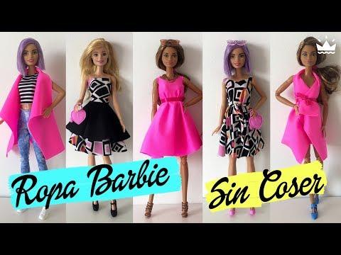 Cómo hacer Ropa para Barbie ¡Sin coser! VESTIDOS, FALDA, TOP Y CHALECO. Recopilatorio