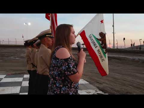 Singing the National Anthem  in front of hundreds of people  , The lemoore Raceway 2018