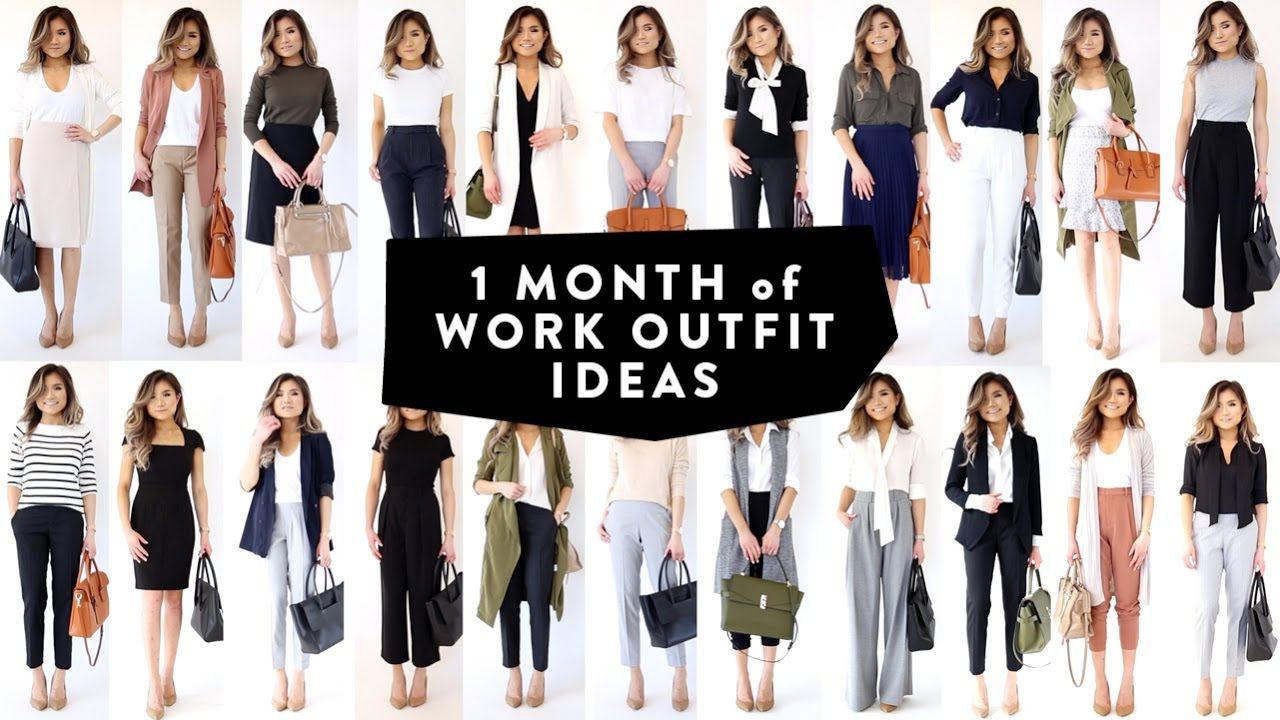 358dd30d9dea 1 MONTH OF WORK OUTFIT IDEAS | Professional Work Office Wear ...